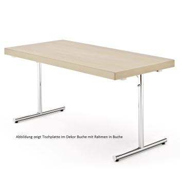Rechtecktisch, Klapptischgestell Modell ES, HPL Schichtstoffplatte mit Massivholzkante oder Rahmen