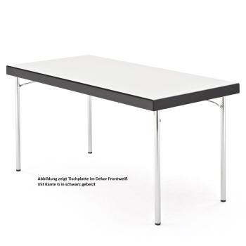 Rechtecktisch, Gestell 4-Fuß aus Stahl-Rundrohr Ø 30 x 1,5 mm, verchromt, mit Höhenausgleichverchromt